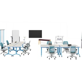 Steelcase Roam Collection, Steelcase Flex Huddle Hub, Steelcase Flex Collection, Steelcase Flex Mobile Power, Steelcase B-Free Beam, Steelcase Series 2 Chair, Smith System Elemental Fold Table